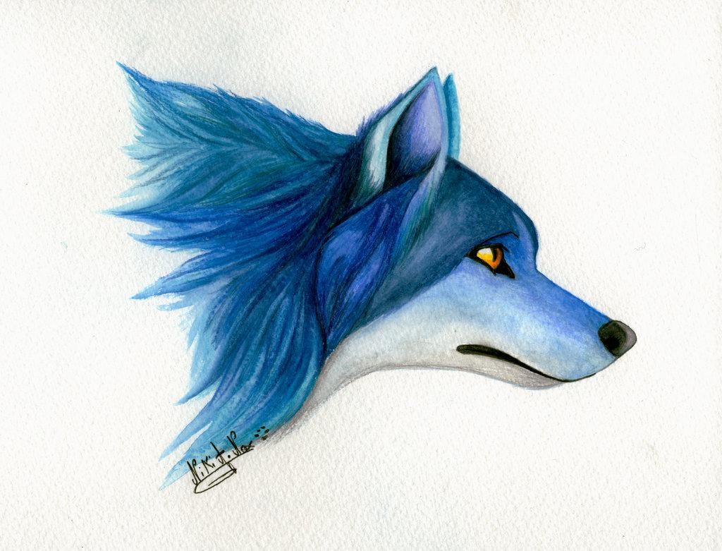 <b>BLUE SPIRIT WOLF : </b><br/>                        Premier test pour le plaisir avec mes nouveaux crayons aquarelle qu'un proche m'a offert.  <br>Avril 2014                <br/>