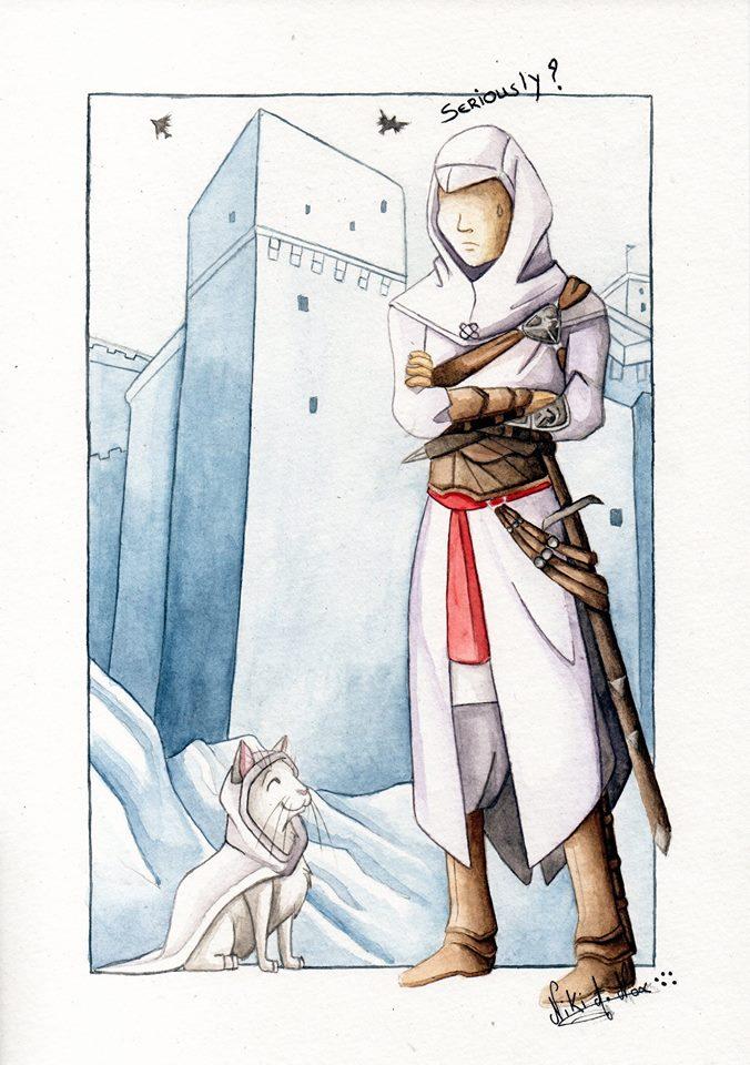 <b>ASSASSIN CAT : </b><br />            Quand Altair reçoit du renfort pour le soutenir dans sa quête.  <br>Illustration réalisée pour l'anniversaire d'un client fan de ''Assasin's creed'' et de son chat! <br>Technique: aquarelle / crayon de couleur <br>Septembre 2016        <br />