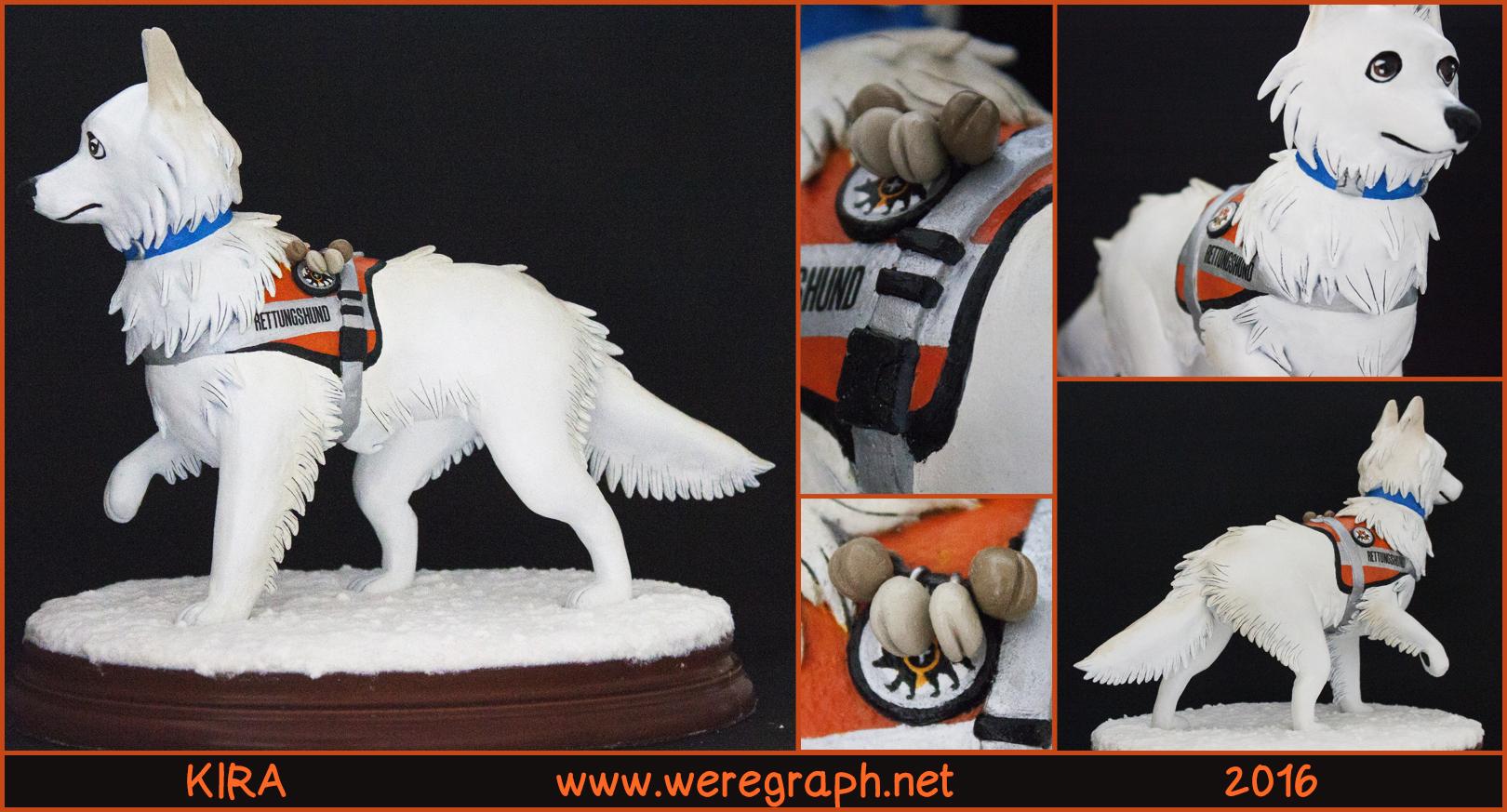 <b>KIRA : </b><br/>Sculpture réalisée en mémoire de Kira, berger blanc suisse qui a travaillé comme chien sauveteur en Allemagne. <br>Matériaux: Structure en métal, aluminium, fimo air, super sculpey, sculpey firm, peinture acrylique. <br>Mars 2016<br/>