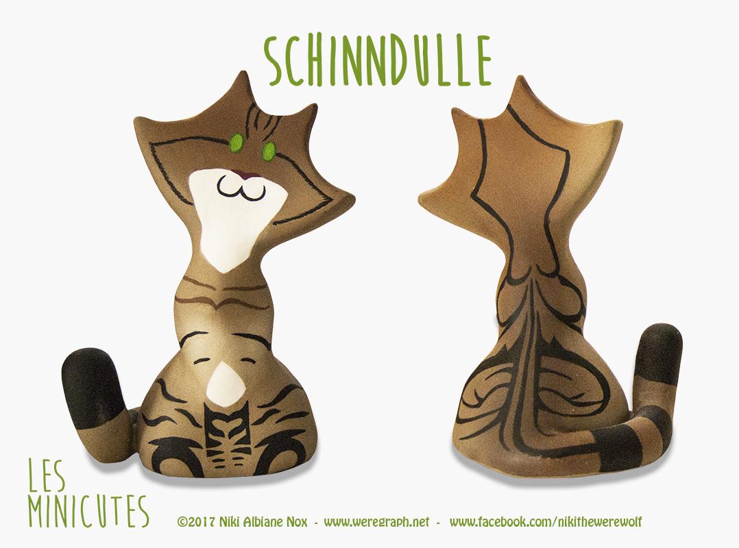 <b>SCHINNDULLE : </b><br/>Schinndulle est un adorable petit Minicute peint d'après le chat de la cliente.  <br>Mars 2017<br/>